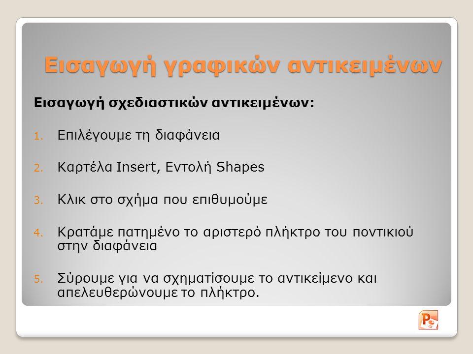 Εισαγωγή γραφικών αντικειμένων Εισαγωγή σχεδιαστικών αντικειμένων: 1. Επιλέγουμε τη διαφάνεια 2. Καρτέλα Insert, Εντολή Shapes 3. Κλικ στο σχήμα που ε