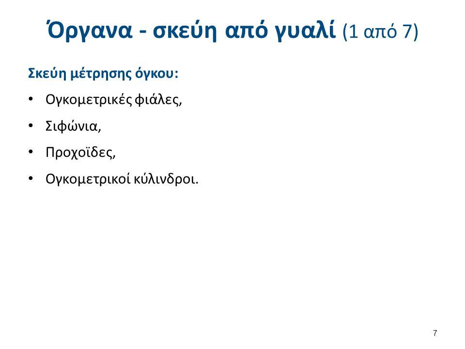 Όργανα - σκεύη από γυαλί (1 από 7) Σκεύη μέτρησης όγκου: Ογκομετρικές φιάλες, Σιφώνια, Προχοϊδες, Ογκομετρικοί κύλινδροι. 7