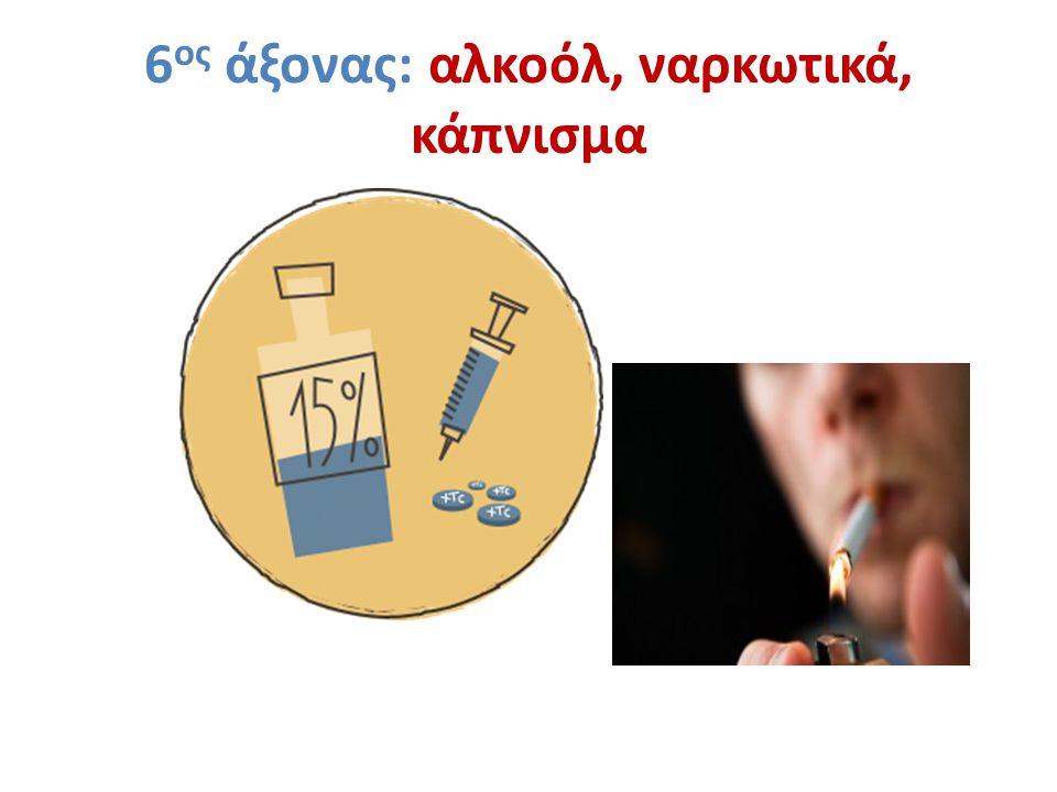 6 ος άξονας: αλκοόλ, ναρκωτικά, κάπνισμα