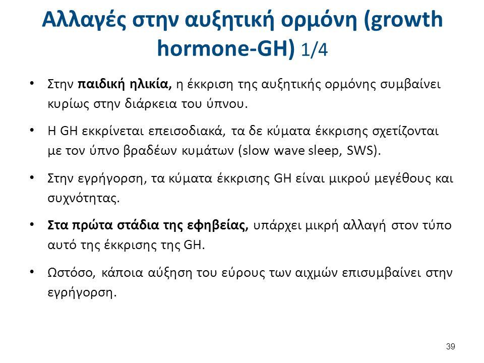 Αλλαγές στην αυξητική ορμόνη (growth hormone-GH) 1/4 Στην παιδική ηλικία, η έκκριση της αυξητικής ορμόνης συμβαίνει κυρίως στην διάρκεια του ύπνου. Η