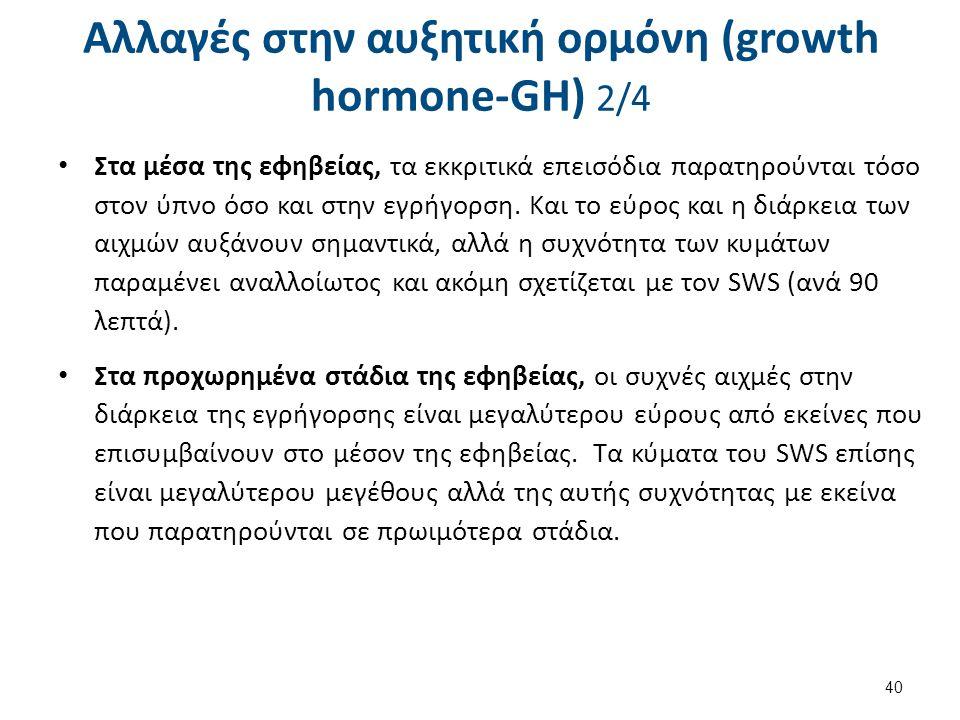 Αλλαγές στην αυξητική ορμόνη (growth hormone-GH) 2/4 Στα μέσα της εφηβείας, τα εκκριτικά επεισόδια παρατηρούνται τόσο στον ύπνο όσο και στην εγρήγορση