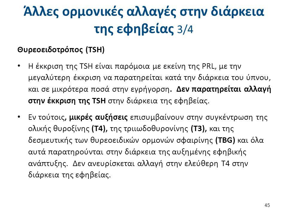 Θυρεοειδοτρόπος (TSH) Η έκκριση της TSH είναι παρόμοια με εκείνη της PRL, με την μεγαλύτερη έκκριση να παρατηρείται κατά την διάρκεια του ύπνου, και σ