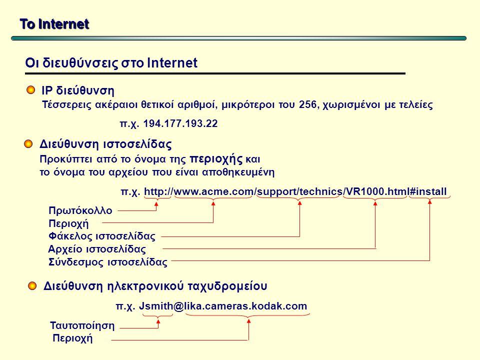 Το Internet IP διεύθυνση Τέσσερεις ακέραιοι θετικοί αριθμοί, μικρότεροι του 256, χωρισμένοι με τελείες π.χ.