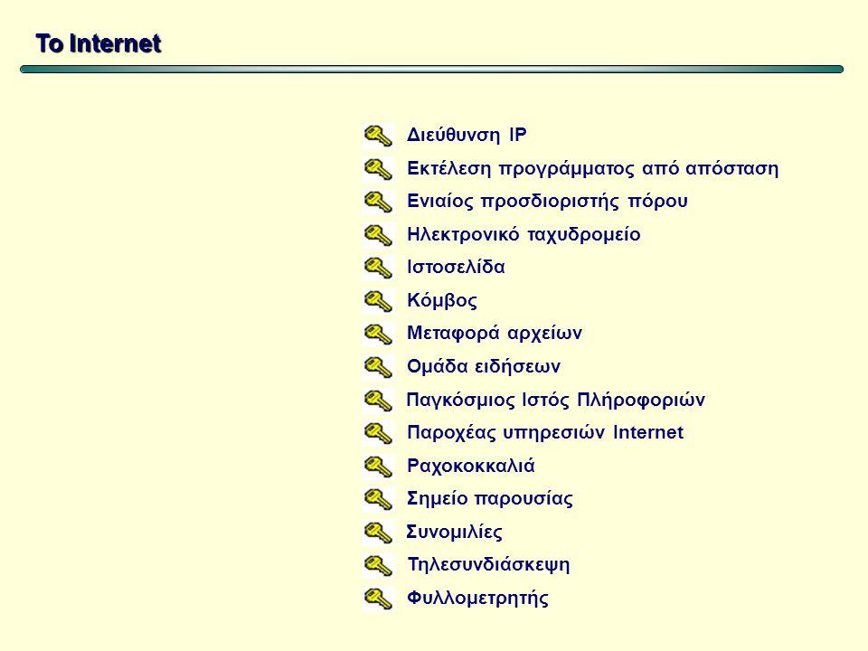 Διεύθυνση IP Εκτέλεση προγράμματος από απόσταση Ενιαίος προσδιοριστής πόρου Ηλεκτρονικό ταχυδρομείο Ιστοσελίδα Κόμβος Μεταφορά αρχείων Ομάδα ειδήσεων Παγκόσμιος Ιστός Πλήροφοριών Παροχέας υπηρεσιών Internet Ραχοκοκκαλιά Σημείο παρουσίας Συνομιλίες Τηλεσυνδιάσκεψη Φυλλομετρητής Το Internet