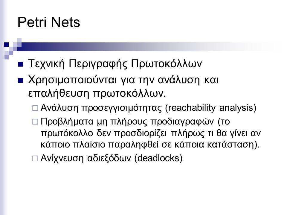 Petri Nets Τεχνική Περιγραφής Πρωτοκόλλων Χρησιμοποιούνται για την ανάλυση και επαλήθευση πρωτοκόλλων.