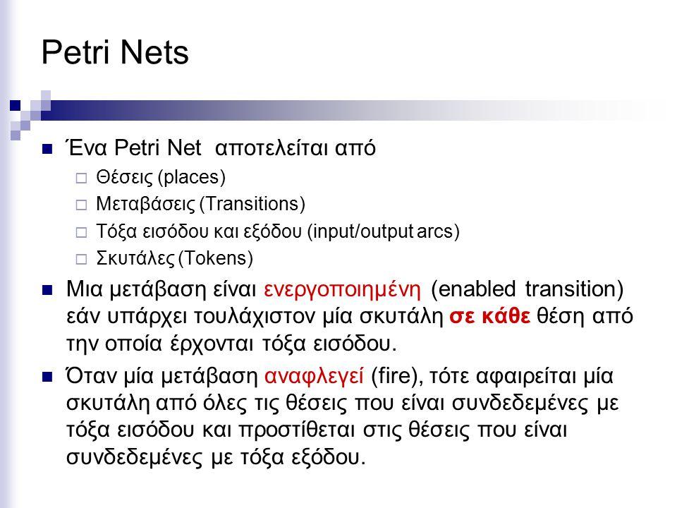 Petri Nets Ένα Petri Net αποτελείται από  Θέσεις (places)  Μεταβάσεις (Transitions)  Τόξα εισόδου και εξόδου (input/output arcs)  Σκυτάλες (Tokens) Μια μετάβαση είναι ενεργοποιημένη (enabled transition) εάν υπάρχει τουλάχιστον μία σκυτάλη σε κάθε θέση από την οποία έρχονται τόξα εισόδου.