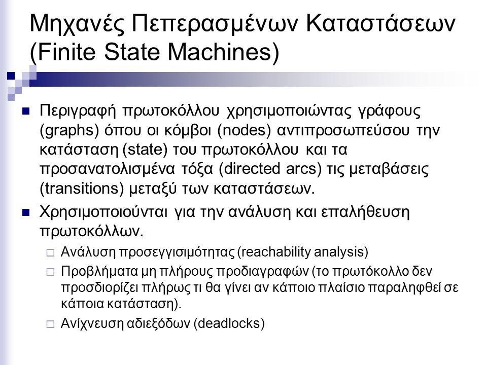 Μηχανές Πεπερασμένων Καταστάσεων (Finite State Machines) Περιγραφή πρωτοκόλλου χρησιμοποιώντας γράφους (graphs) όπου οι κόμβοι (nodes) αντιπροσωπεύσου την κατάσταση (state) του πρωτοκόλλου και τα προσανατολισμένα τόξα (directed arcs) τις μεταβάσεις (transitions) μεταξύ των καταστάσεων.
