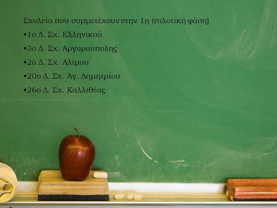 Σχολεία που συμμετέχουν στην 1η (πιλοτική φάση) 1ο Δ. Σχ. Ελληνικού 3ο Δ. Σχ. Αργυρούπολης 2ο Δ. Σχ. Αλίμου 20ο Δ. Σχ. Αγ. Δημητρίου 26ο Δ. Σχ. Καλλιθ