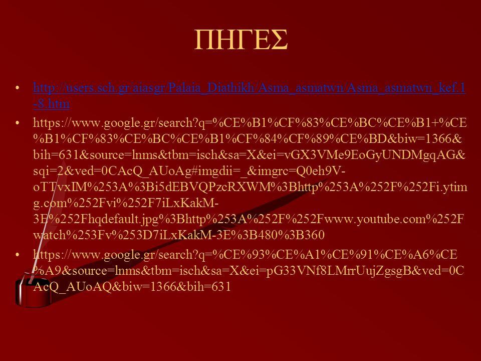 ΠΗΓΕΣ http://users.sch.gr/aiasgr/Palaia_Diathikh/Asma_asmatwn/Asma_asmatwn_kef.1 -8.htmhttp://users.sch.gr/aiasgr/Palaia_Diathikh/Asma_asmatwn/Asma_asmatwn_kef.1 -8.htm https://www.google.gr/search?q=%CE%B1%CF%83%CE%BC%CE%B1+%CE %B1%CF%83%CE%BC%CE%B1%CF%84%CF%89%CE%BD&biw=1366& bih=631&source=lnms&tbm=isch&sa=X&ei=vGX3VMe9EoGyUNDMgqAG& sqi=2&ved=0CAcQ_AUoAg#imgdii=_&imgrc=Q0eh9V- oTTvxIM%253A%3Bi5dEBVQPzcRXWM%3Bhttp%253A%252F%252Fi.ytim g.com%252Fvi%252F7iLxKakM- 3E%252Fhqdefault.jpg%3Bhttp%253A%252F%252Fwww.youtube.com%252F watch%253Fv%253D7iLxKakM-3E%3B480%3B360 https://www.google.gr/search?q=%CE%93%CE%A1%CE%91%CE%A6%CE %A9&source=lnms&tbm=isch&sa=X&ei=pG33VNf8LMrrUujZgsgB&ved=0C AcQ_AUoAQ&biw=1366&bih=631