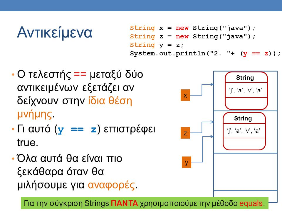 Αντικείμενα String x = new String( java ); String z = new String( java ); String y = z; System.out.println( 2.