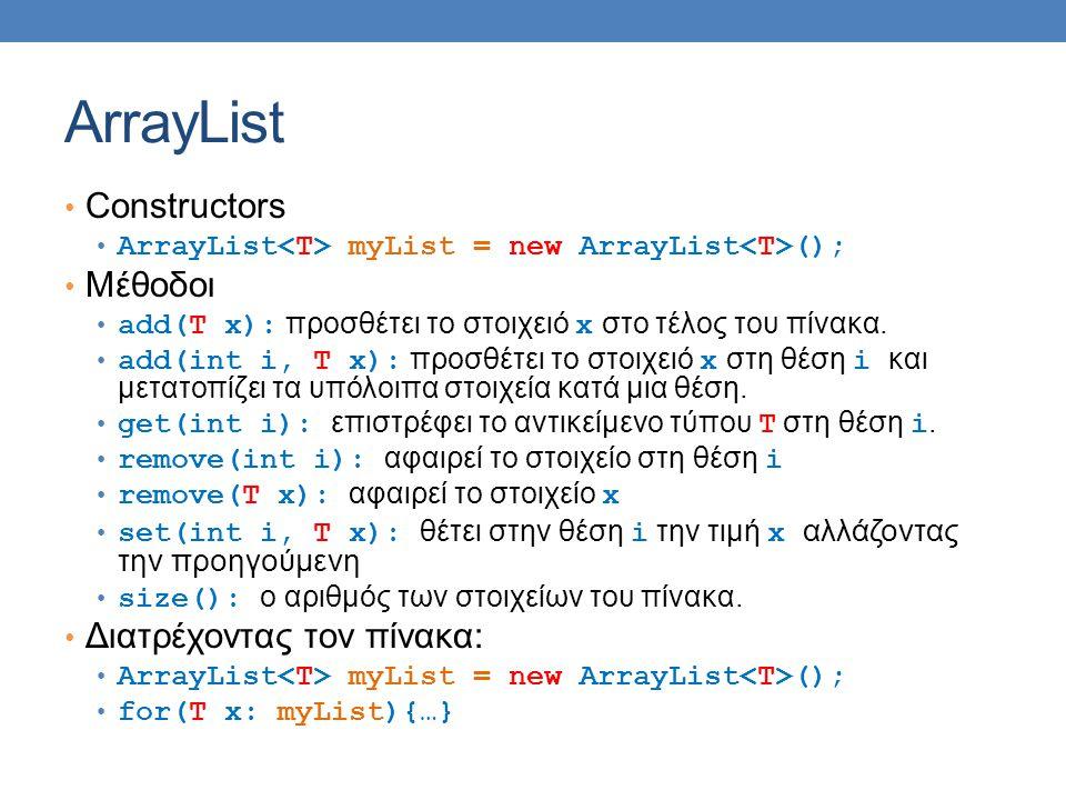 ArrayList Constructors ArrayList myList = new ArrayList (); Μέθοδοι add(T x): προσθέτει το στοιχειό x στο τέλος του πίνακα. add(int i, T x): προσθέτει