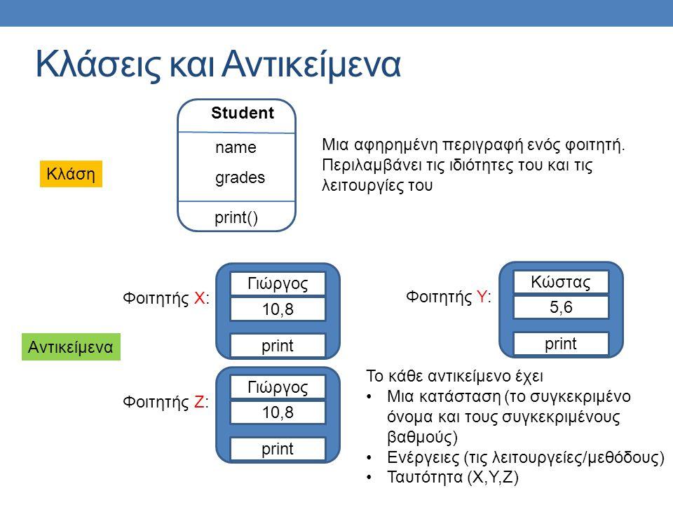 Κλάσεις και Αντικείμενα Student name print() grades Μια αφηρημένη περιγραφή ενός φοιτητή. Περιλαμβάνει τις ιδιότητες του και τις λειτουργίες του Κλάση