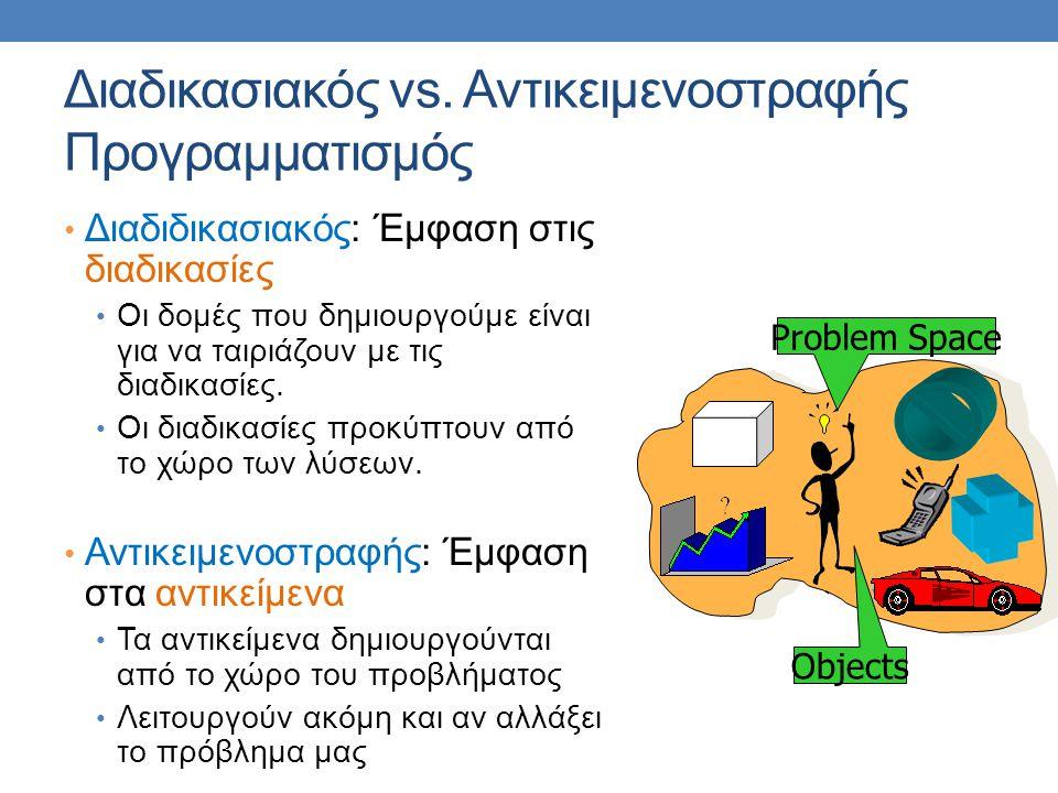 Διαδικασιακός vs. Αντικειμενοστραφής Προγραμματισμός Διαδιδικασιακός: Έμφαση στις διαδικασίες Οι δομές που δημιουργούμε είναι για να ταιριάζουν με τις