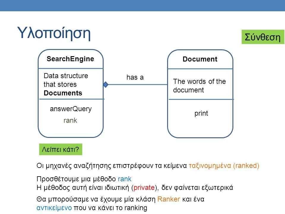 Υλοποίηση SearchEngine Data structure that stores Documents answerQuery Document The words of the document print has a Οι μηχανές αναζήτησης επιστρέφο