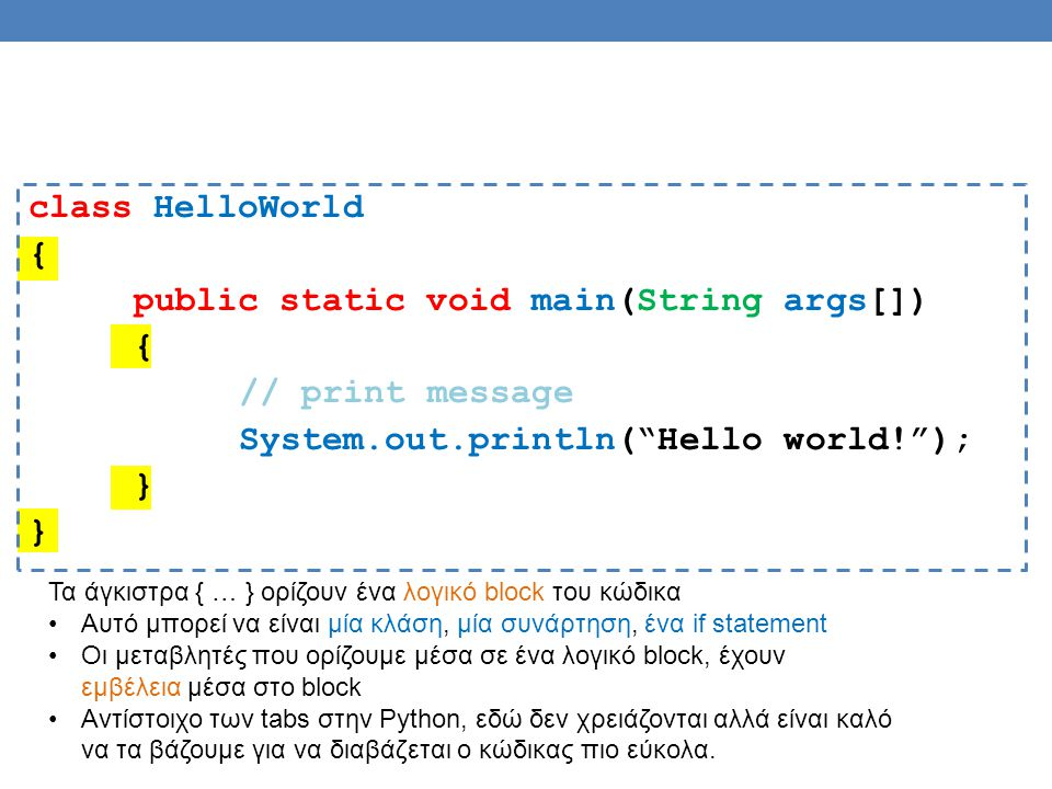"class HelloWorld { public static void main(String args[]) { // print message System.out.println(""Hello world!""); } Τα άγκιστρα { … } ορίζουν ένα λογικ"