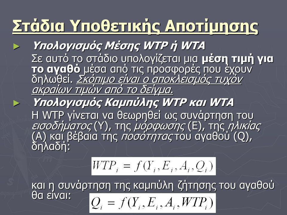 Στάδια Υποθετικής Αποτίμησης ► Υπολογισμός Μέσης WTP ή WTA Σε αυτό το στάδιο υπολογίζεται μια μέση τιμή για το αγαθό μέσα από τις προσφορές που έχουν δηλωθεί.