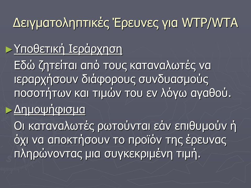 Δειγματοληπτικές Έρευνες για WTP/WTA ► Υποθετική Ιεράρχηση Εδώ ζητείται από τους καταναλωτές να ιεραρχήσουν διάφορους συνδυασμούς ποσοτήτων και τιμών του εν λόγω αγαθού.