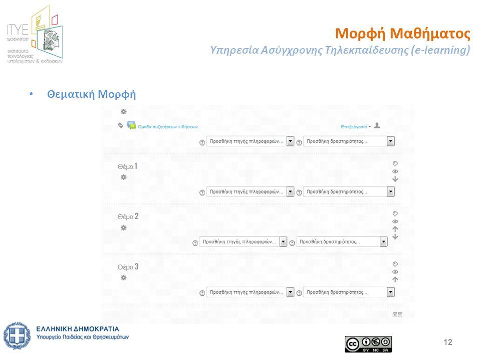 Μορφή Μαθήματος Υπηρεσία Ασύγχρονης Τηλεκπαίδευσης (e-learning) 12 Θεματική Μορφή