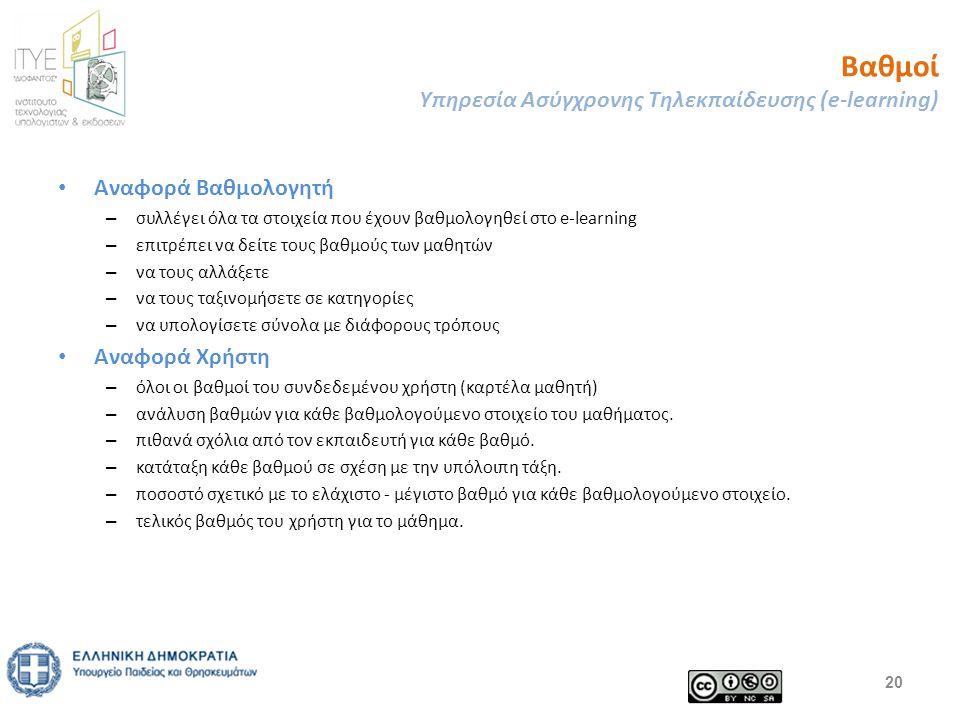 Βαθμοί Υπηρεσία Ασύγχρονης Τηλεκπαίδευσης (e-learning) 20 Αναφορά Βαθμολογητή – συλλέγει όλα τα στοιχεία που έχουν βαθμολογηθεί στο e-learning – επιτρέπει να δείτε τους βαθμούς των μαθητών – να τους αλλάξετε – να τους ταξινομήσετε σε κατηγορίες – να υπολογίσετε σύνολα με διάφορους τρόπους Αναφορά Χρήστη – όλοι οι βαθμοί του συνδεδεμένου χρήστη (καρτέλα μαθητή) – ανάλυση βαθμών για κάθε βαθμολογούμενο στοιχείο του μαθήματος.