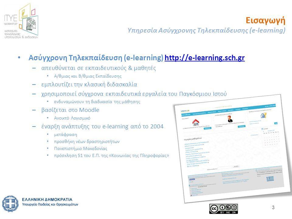 Εισαγωγή Υπηρεσία Ασύγχρονης Τηλεκπαίδευσης (e-learning) Ασύγχρονη Τηλεκπαίδευση (e-learning) http://e-learning.sch.grhttp://e-learning.sch.gr – απευθύνεται σε εκπαιδευτικούς & μαθητές Α/θμιας και Β/θμιας Εκπαίδευσης – εμπλουτίζει την κλασική διδασκαλία – χρησιμοποιεί σύγχρονα εκπαιδευτικά εργαλεία του Παγκόσμιου Ιστού ενδυναμώνουν τη διαδικασία της μάθησης – βασίζεται στο Moodle Ανοικτό Λογισμικό – έναρξη ανάπτυξης του e-learning από το 2004 μετάφραση προσθήκη νέων δραστηριοτήτων Πανεπιστήμιο Μακεδονίας πρόσκληση 51 του Ε.Π.
