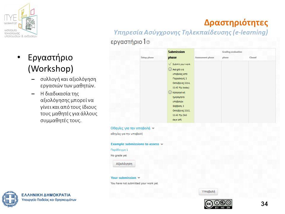 Δραστηριότητες Υπηρεσία Ασύγχρονης Τηλεκπαίδευσης (e-learning) Εργαστήριο (Workshop) – συλλογή και αξιολόγηση εργασιών των μαθητών.