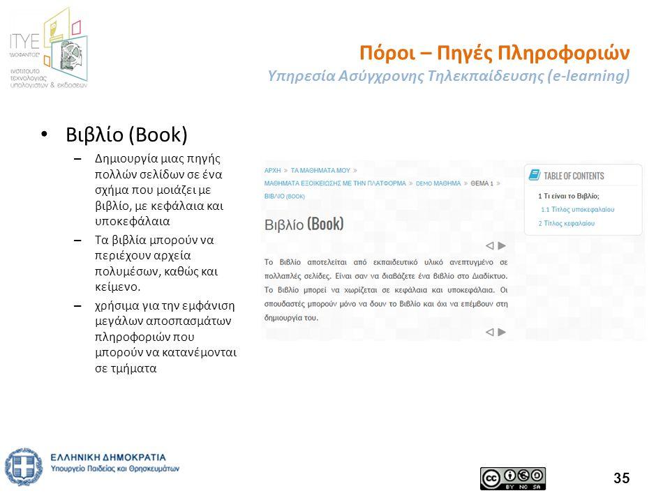 Πόροι – Πηγές Πληροφοριών Υπηρεσία Ασύγχρονης Τηλεκπαίδευσης (e-learning) Βιβλίο (Book) – Δημιουργία μιας πηγής πολλών σελίδων σε ένα σχήμα που μοιάζει με βιβλίο, με κεφάλαια και υποκεφάλαια – Τα βιβλία μπορούν να περιέχουν αρχεία πολυμέσων, καθώς και κείμενο.