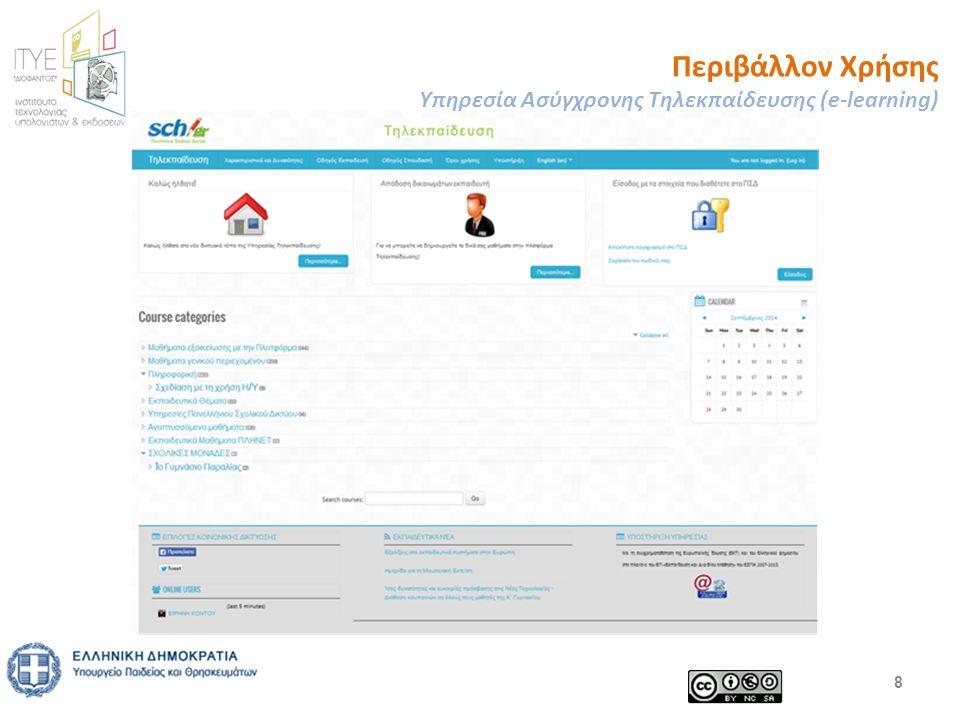 Περιβάλλον Χρήσης Υπηρεσία Ασύγχρονης Τηλεκπαίδευσης (e-learning) 8