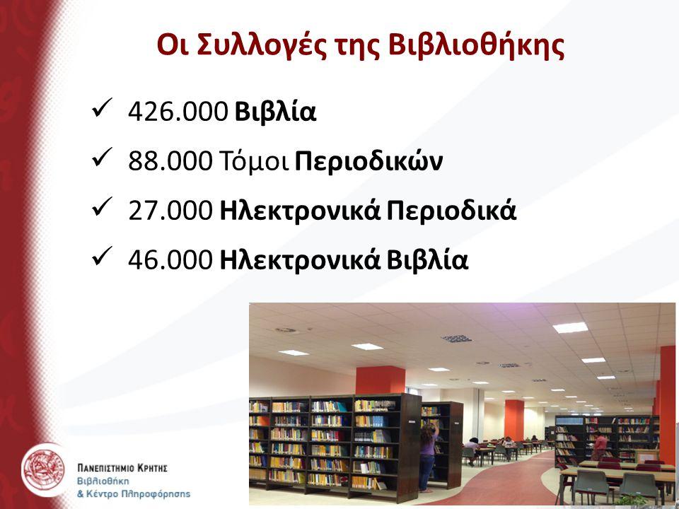 Οι Συλλογές της Βιβλιοθήκης 426.000 Βιβλία 88.000 Τόμοι Περιοδικών 27.000 Ηλεκτρονικά Περιοδικά 46.000 Ηλεκτρονικά Βιβλία