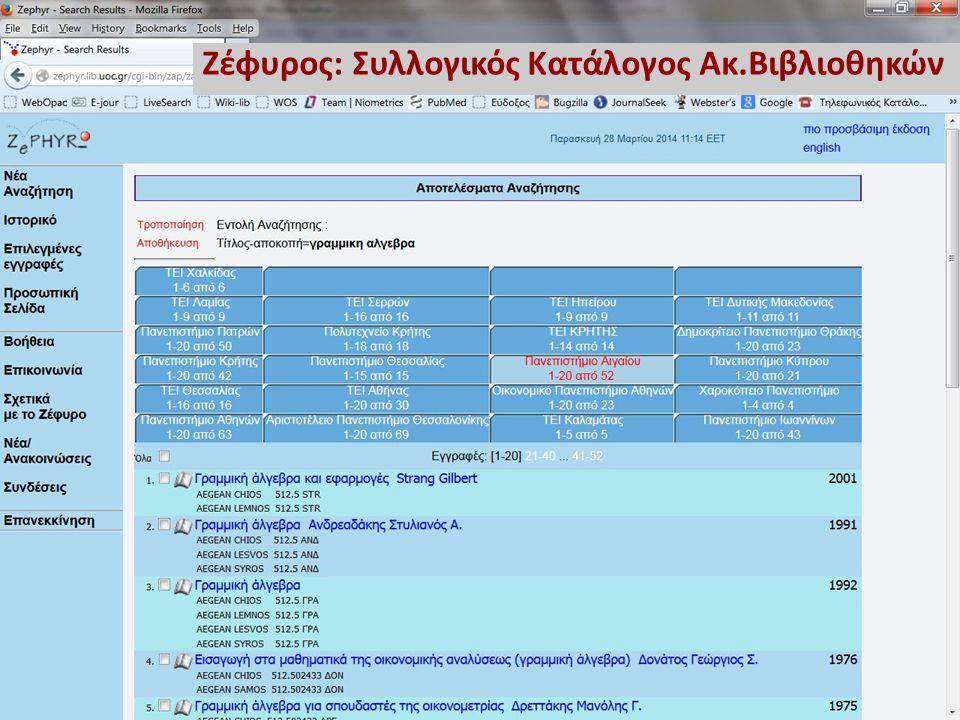 Ζέφυρος: Συλλογικός Κατάλογος Ακ.Βιβλιοθηκών