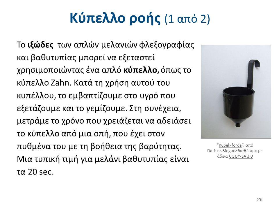 Κύπελλο ροής (1 από 2) Το ιξώδες των απλών μελανιών φλεξογραφίας και βαθυτυπίας μπορεί να εξεταστεί χρησιμοποιώντας ένα απλό κύπελλο, όπως το κύπελλο