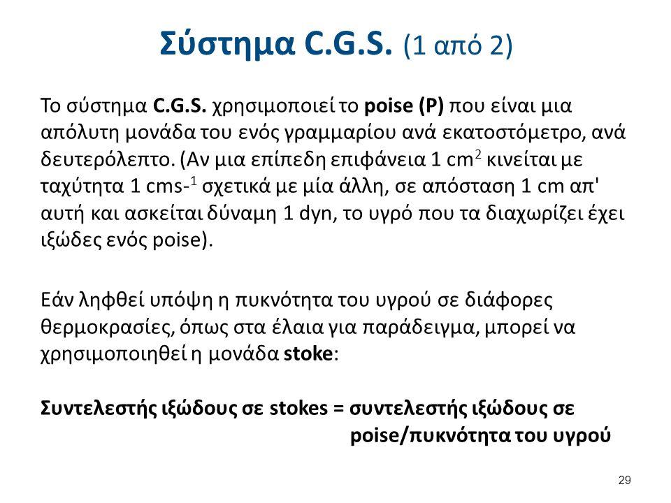 Σύστημα C.G.S. (1 από 2) Το σύστημα C.G.S. χρησιμοποιεί το poise (Ρ) που είναι μια απόλυτη μονάδα του ενός γραμμαρίου ανά εκατοστόμετρο, ανά δευτερόλε