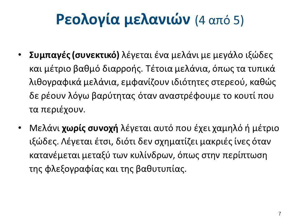 Ρεολογία μελανιών (5 από 5) Βουτυρώδη λέγονται τα μελάνια με χαμηλό ιξώδες και υψηλό βαθμό διαρροής.