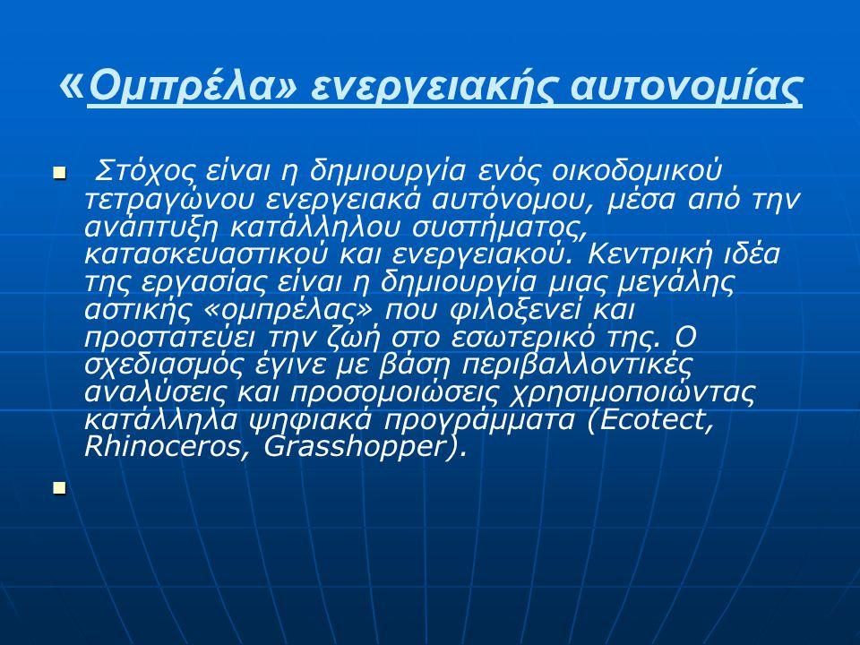 « Ομπρέλα» ενεργειακής αυτονομίας Στόχος είναι η δημιουργία ενός οικοδομικού τετραγώνου ενεργειακά αυτόνομου, μέσα από την ανάπτυξη κατάλληλου συστήμα