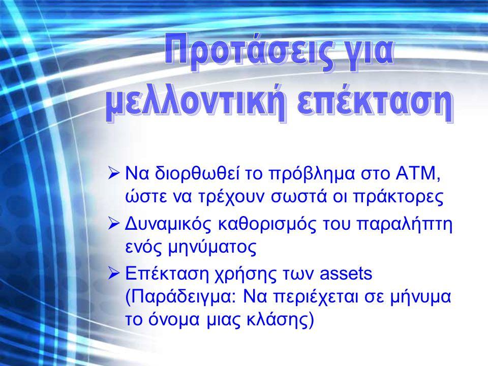 Να διορθωθεί το πρόβλημα στο ATM, ώστε να τρέχουν σωστά οι πράκτορες  Δυναμικός καθορισμός του παραλήπτη ενός μηνύματος  Επέκταση χρήσης των assets (Παράδειγμα: Να περιέχεται σε μήνυμα το όνομα μιας κλάσης)