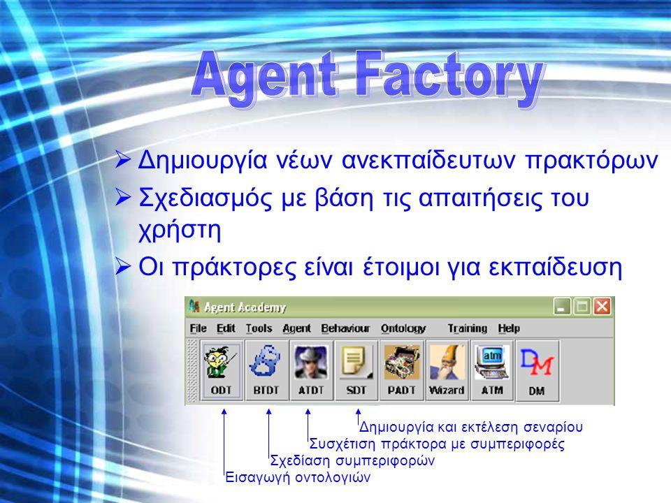  Δημιουργία νέων ανεκπαίδευτων πρακτόρων  Σχεδιασμός με βάση τις απαιτήσεις του χρήστη  Οι πράκτορες είναι έτοιμοι για εκπαίδευση Δημιουργία και εκ