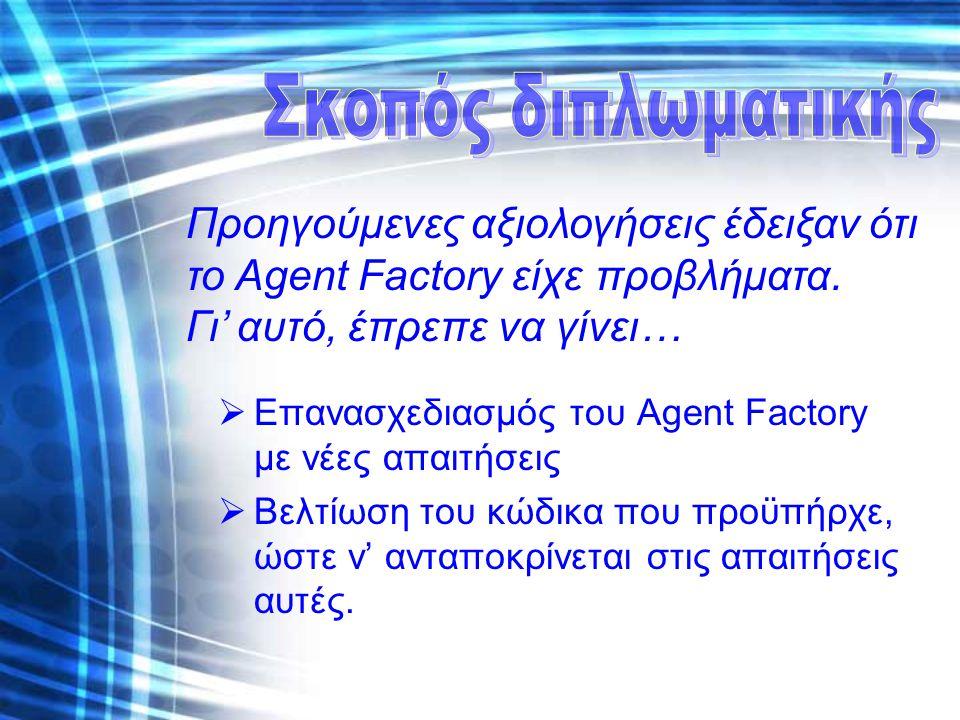  Επανασχεδιασμός του Agent Factory με νέες απαιτήσεις  Βελτίωση του κώδικα που προϋπήρχε, ώστε ν' ανταποκρίνεται στις απαιτήσεις αυτές. Προηγούμενες