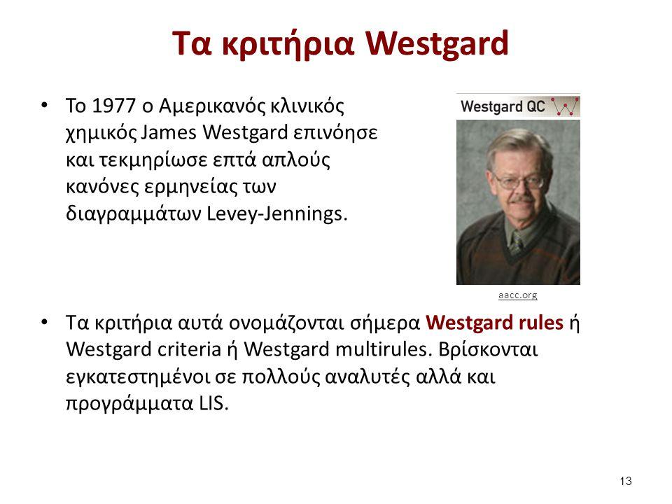 Τα κριτήρια Westgard To 1977 ο Αμερικανός κλινικός χημικός James Westgard επινόησε και τεκμηρίωσε επτά απλούς κανόνες ερμηνείας των διαγραμμάτων Levey-Jennings.
