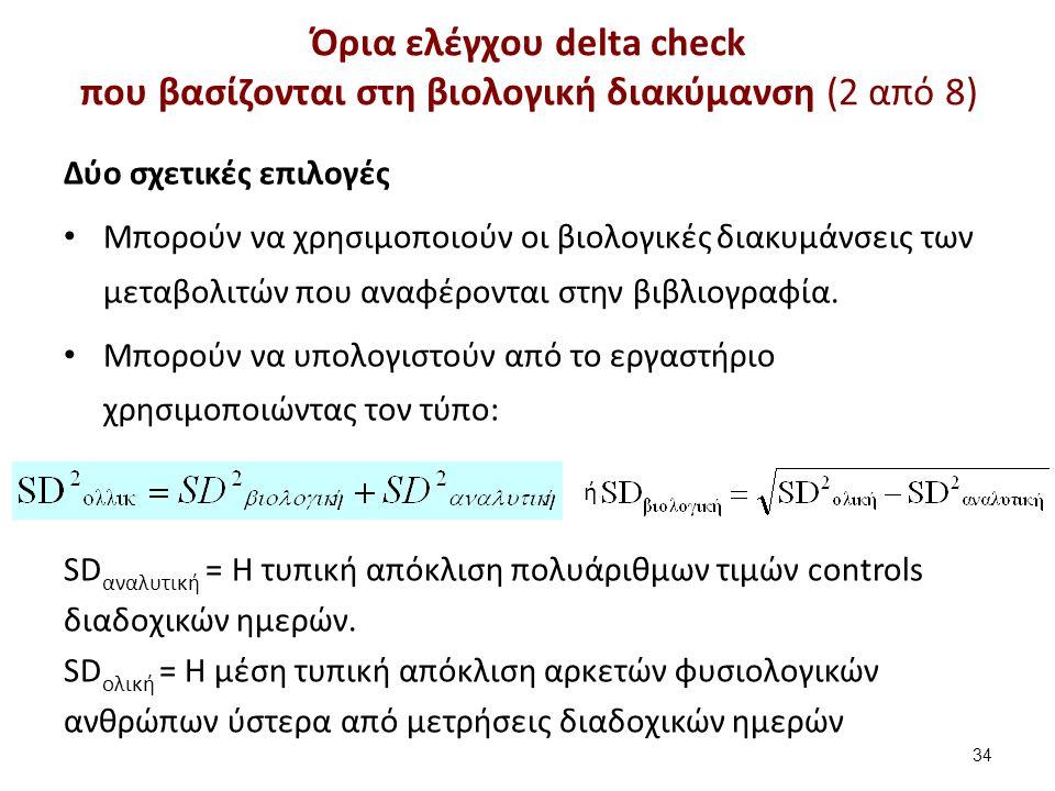 Όρια ελέγχου delta check που βασίζονται στη βιολογική διακύμανση (2 από 8) 34 Δύο σχετικές επιλογές Μπορούν να χρησιμοποιούν οι βιολογικές διακυμάνσεις των μεταβολιτών που αναφέρονται στην βιβλιογραφία.