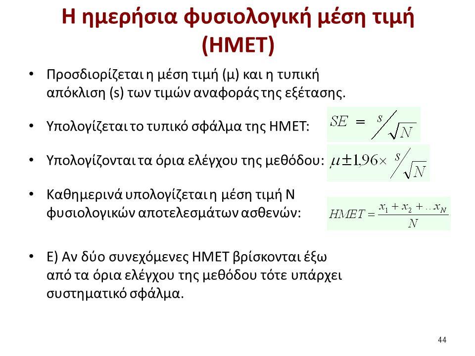 Η ημερήσια φυσιολογική μέση τιμή (ΗΜΕΤ) Προσδιορίζεται η μέση τιμή (μ) και η τυπική απόκλιση (s) των τιμών αναφοράς της εξέτασης.