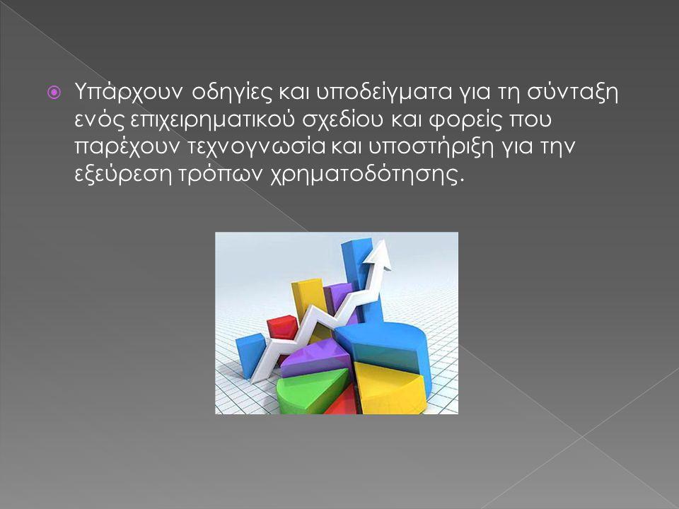  Υπάρχουν οδηγίες και υποδείγματα για τη σύνταξη ενός επιχειρηματικού σχεδίου και φορείς που παρέχουν τεχνογνωσία και υποστήριξη για την εξεύρεση τρόπων χρηματοδότησης.