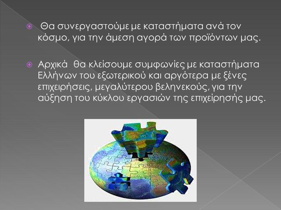  Θα συνεργαστούμε με καταστήματα ανά τον κόσμο, για την άμεση αγορά των προϊόντων μας.