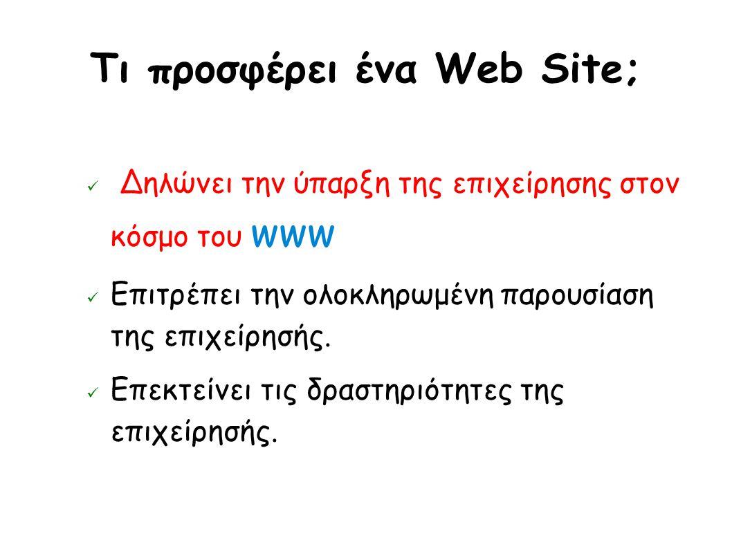 Tι προσφέρει ένα Web Site; Δηλώνει την ύπαρξη της επιχείρησης στον κόσμο του www Επιτρέπει την ολοκληρωμένη παρουσίαση της επιχείρησής.