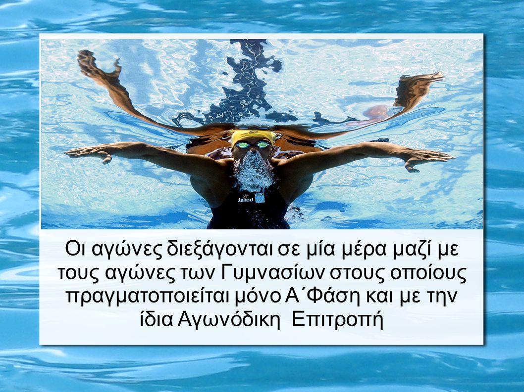 Β΄ ΦΑΣΗ Οι αγώνες διεξάγονται για κάθε όμιλο την ίδια ημέρα στο κολυμβητήριο που ορίζεται από την Κ.Ο.Ε.Σ.Α.