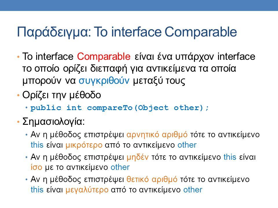 Παράδειγμα: Το interface Comparable Το interface Comparable είναι ένα υπάρχον interface το οποίο ορίζει διεπαφή για αντικείμενα τα οποία μπορούν να συγκριθούν μεταξύ τους Ορίζει την μέθοδο public int compareTo(Object other); Σημασιολογία: Αν η μέθοδος επιστρέψει αρνητικό αριθμό τότε το αντικείμενο this είναι μικρότερο από το αντικείμενο other Αν η μέθοδος επιστρέψει μηδέν τότε το αντικείμενο this είναι ίσο με το αντικείμενο other Αν η μέθοδος επιστρέψει θετικό αριθμό τότε το αντικείμενο this είναι μεγαλύτερο από το αντικείμενο other
