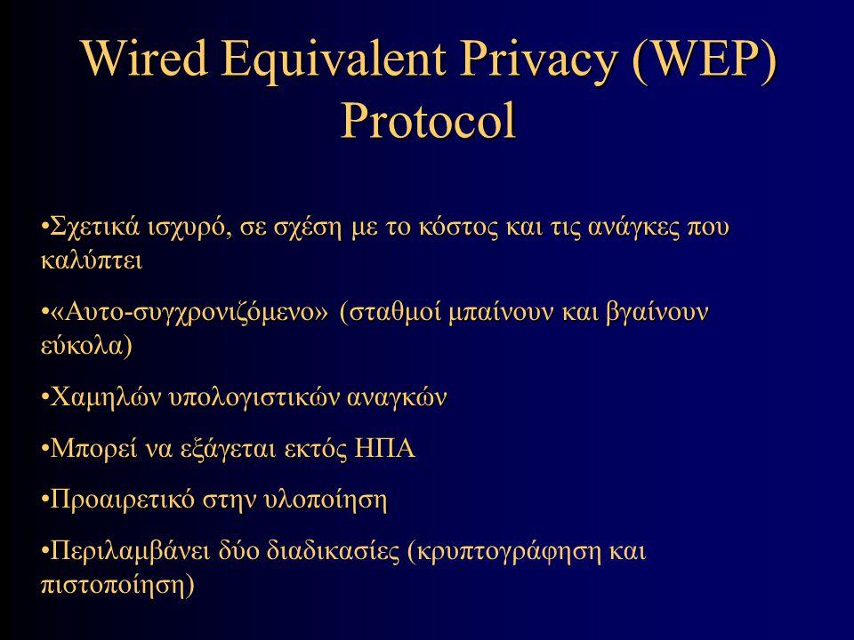Wired Equivalent Privacy (WEP) Protocol Σχετικά ισχυρό, σε σχέση με το κόστος και τις ανάγκες που καλύπτειΣχετικά ισχυρό, σε σχέση με το κόστος και τις ανάγκες που καλύπτει «Αυτο-συγχρονιζόμενο» (σταθμοί μπαίνουν και βγαίνουν εύκολα)«Αυτο-συγχρονιζόμενο» (σταθμοί μπαίνουν και βγαίνουν εύκολα) Χαμηλών υπολογιστικών αναγκώνΧαμηλών υπολογιστικών αναγκών Μπορεί να εξάγεται εκτός ΗΠΑΜπορεί να εξάγεται εκτός ΗΠΑ Προαιρετικό στην υλοποίησηΠροαιρετικό στην υλοποίηση Περιλαμβάνει δύο διαδικασίες (κρυπτογράφηση και πιστοποίηση)