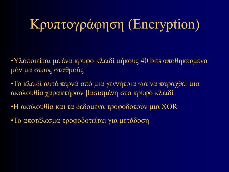 Κρυπτογράφηση (Encryption) Υλοποιείται με ένα κρυφό κλειδί μήκους 40 bits αποθηκευμένο μόνιμα στους σταθμούςΥλοποιείται με ένα κρυφό κλειδί μήκους 40 bits αποθηκευμένο μόνιμα στους σταθμούς Το κλειδί αυτό περνά από μια γεννήτρια για να παραχθεί μια ακολουθία χαρακτήρων βασισμένη στο κρυφό κλειδίΤο κλειδί αυτό περνά από μια γεννήτρια για να παραχθεί μια ακολουθία χαρακτήρων βασισμένη στο κρυφό κλειδί Η ακολουθία και τα δεδομένα τροφοδοτούν μια XORΗ ακολουθία και τα δεδομένα τροφοδοτούν μια XOR Το αποτέλεσμα τροφοδοτείται για μετάδοσηΤο αποτέλεσμα τροφοδοτείται για μετάδοση