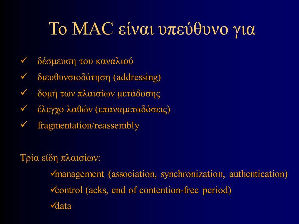 To ΜAC είναι υπεύθυνο για δέσμευση του καναλιού δέσμευση του καναλιού διευθυνσιοδότηση (addressing) διευθυνσιοδότηση (addressing) δομή των πλαισίων μετάδοσης δομή των πλαισίων μετάδοσης έλεγχο λαθών (επαναμεταδόσεις) έλεγχο λαθών (επαναμεταδόσεις) fragmentation/reassembly fragmentation/reassembly Τρία είδη πλαισίων: management (association, synchronization, authentication) management (association, synchronization, authentication) control (acks, end of contention-free period) control (acks, end of contention-free period) data data