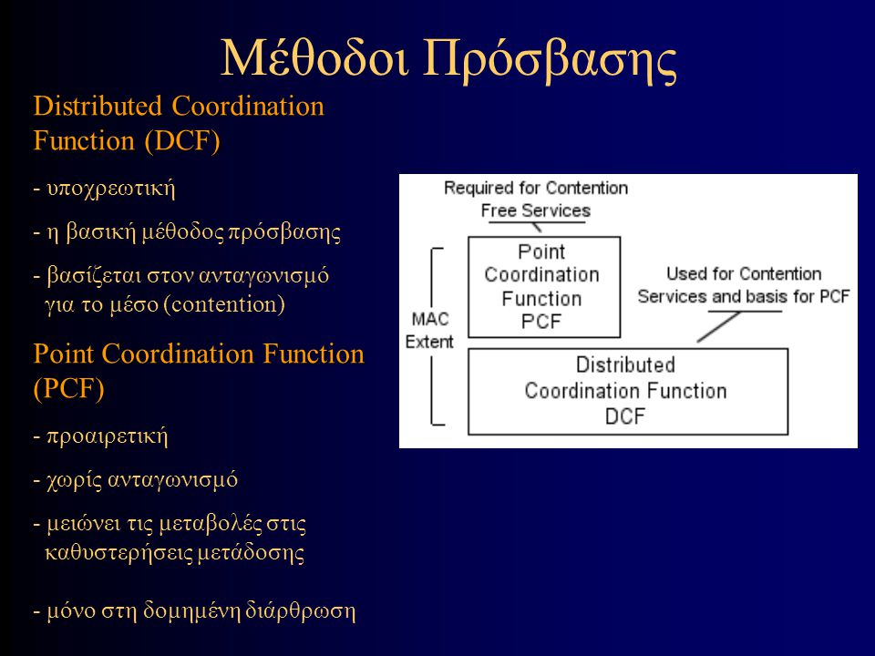 Distributed Coordination Function (DCF) - υποχρεωτική - η βασική μέθοδος πρόσβασης - βασίζεται στον ανταγωνισμό για το μέσο (contention) Point Coordination Function (PCF) - προαιρετική - χωρίς ανταγωνισμό - μειώνει τις μεταβολές στις καθυστερήσεις μετάδοσης - μόνο στη δομημένη διάρθρωση Μέθοδοι Πρόσβασης