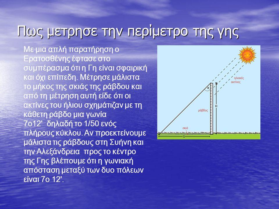 Πίσω στην αρχή Πίσω στην αρχή Αρχική σελίδα Με μια απλή παρατήρηση ο Ερατοσθένης έφτασε στο συμπέρασμα ότι η Γη είναι σφαιρική και όχι επίπεδη.