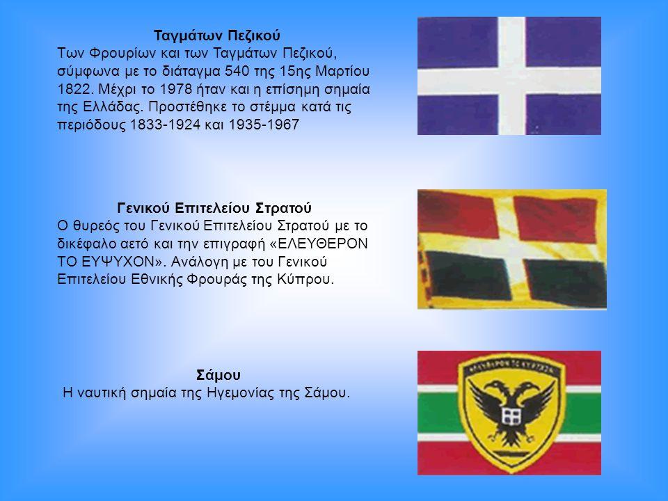 Ταγμάτων Πεζικού Των Φρουρίων και των Ταγμάτων Πεζικού, σύμφωνα με το διάταγμα 540 της 15ης Μαρτίου 1822. Μέχρι το 1978 ήταν και η επίσημη σημαία της
